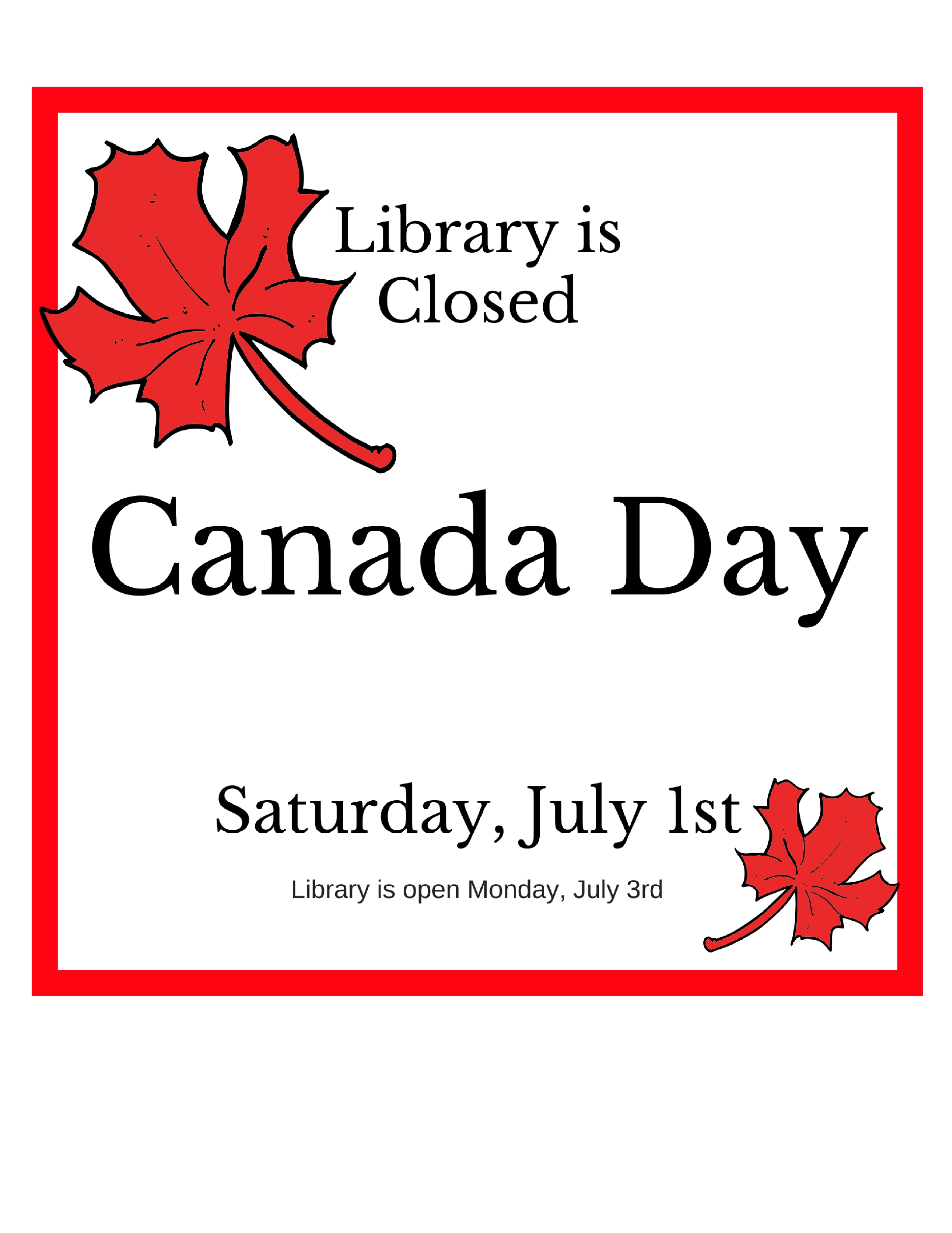 Canada Day Closure @ Smithers Public Library